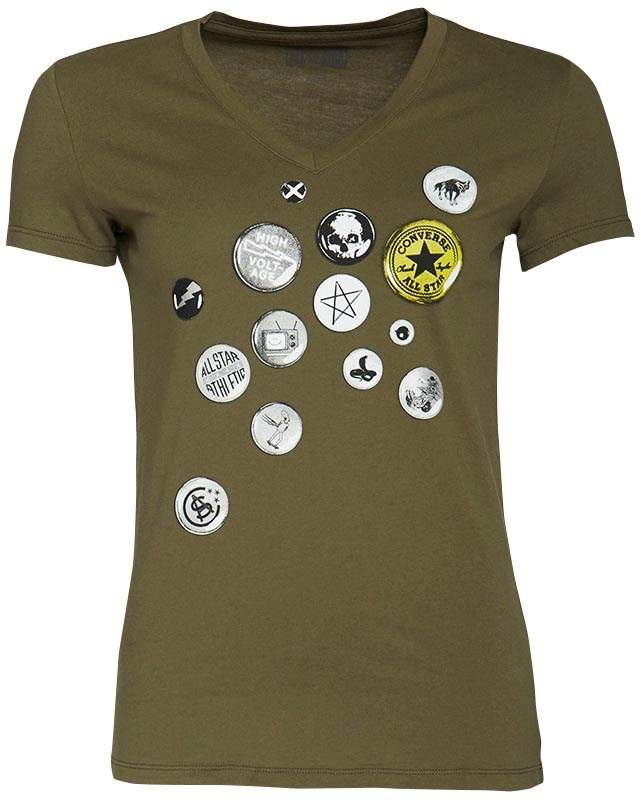 Damen Button Graphic T-Shirt Khaki