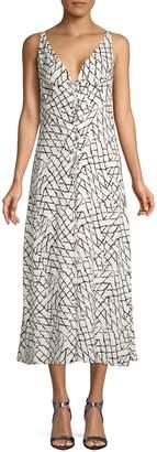 Derek Lam Geometric Silk Maxi Slip Dress