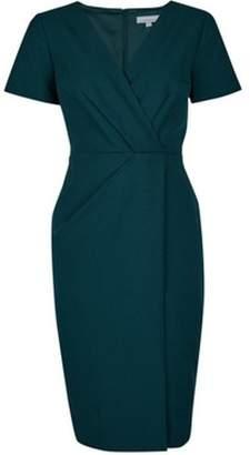Dorothy Perkins Womens Petite Green V-Neck Wrap Dress