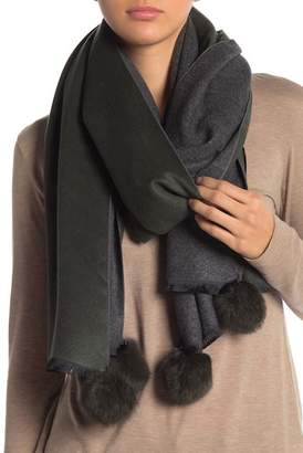 La Fiorentina Reversible Genuine Rabbit Fur Pompom Scarf