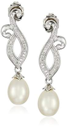Sterling Silver Freshwater Cultured Pearl with Swirl Design and Diamond Accent Drop Earrings