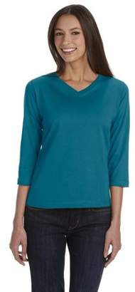 Lat Womens 3/4 Sleeve V-Neck T-Shirt by LAT
