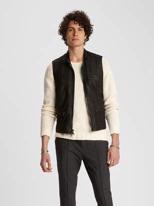 John Varvatos LEATHER BIKER VEST