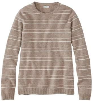 L.L. Bean L.L.Bean Women's Classic Cashmere Sweater, Crewneck Textured Stripe
