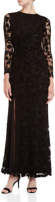 Shoshanna Black Wen Mesh Long Sleeve Gown