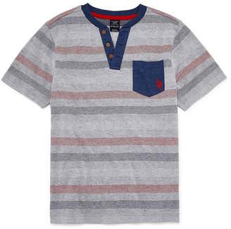 U.S. Polo Assn. USPA Boys Short Sleeve Embroidered Henley Shirt Preschool / Big Kid