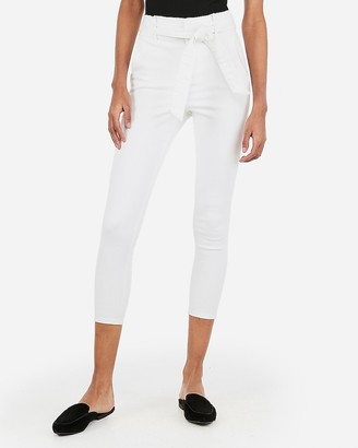 Express Super High Waisted Denim Perfect Sash Tie Cropped Leggings