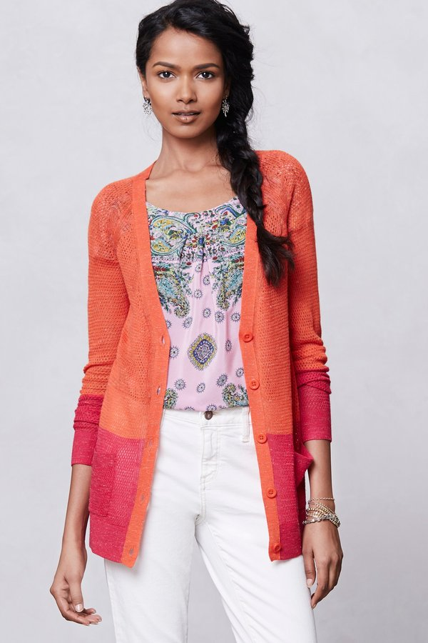 Anthropologie Colorblock Pointelle Cardigan
