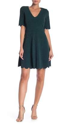 Vanity Room V-Neck Metallic Knit Dress