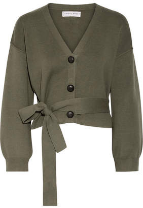 Apiece Apart Salinas Cotton And Cashmere-blend Cardigan - Army green