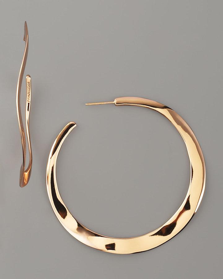 Ippolita Wavy Rose Gold Hoop Earrings, Large