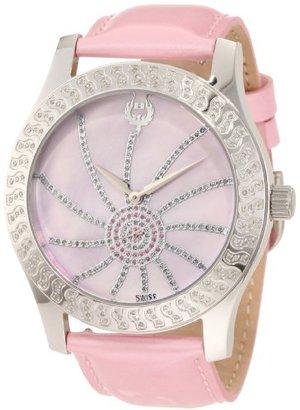 Brillier 【日本未発売】 ブリエ) Women's 03-42327-05 Kalypso Silver-Tone Pink Leather Watch