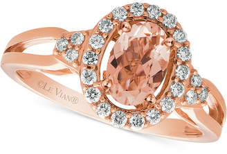 LeVian Le Vian Peach Morganite (1/2 ct. t.w.) & Diamond (1/5 ct. t.w.) Ring in 14k Rose Gold