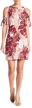 London Times Floral Printed Cold Shoulder Shift Dress