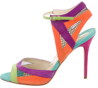 Brian Atwood Suede Multicolor Sandals $125 thestylecure.com