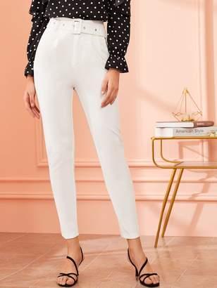 Shein Solid Adjustable Belted Cigarette Pants