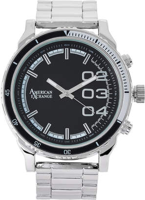 N. American Exchange WN5428 Silver-Tone & Black Necklace & Watch Set