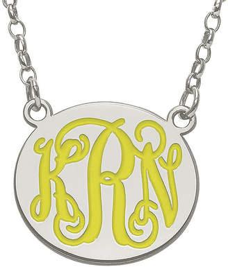 FINE JEWELRY Personalized 19mm Sterling Silver Enamel Monogram Necklace