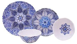 222 Fifth Rustic Medallion 12 Piece Melamine Dinnerware Set, Service for 4