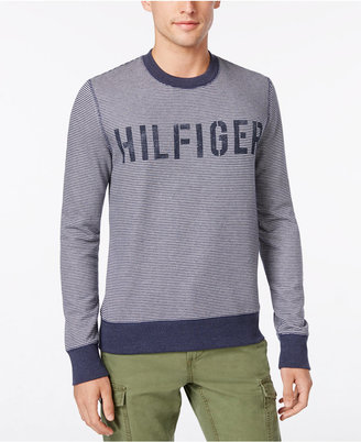Tommy Hilfiger Men's Big & Tall Hampton Stripe Logo Sweater $99 thestylecure.com