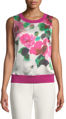 St. John Merino Jersey Knit Shell Top with Floral Silk Panel