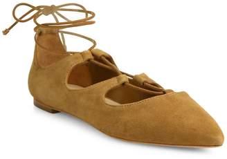Loeffler Randall Women's Ambra Point Toe Suede Lace-Up Flats