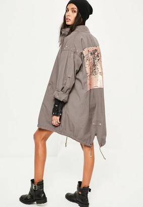 Grey Sequin Back Oversized Parka Coat $95 thestylecure.com