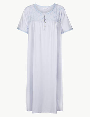 Marks and Spencer Pure Cotton Broderie Detail Nightdress