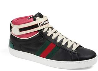 Gucci New Ace High Top Sneaker with Genuine Snakeskin Trim