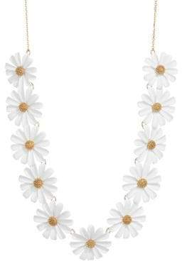 Kate Spade Into The Bloom Goldtone Crystal Flower Statement Necklace