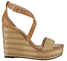 Jimmy Choo Portia Metallic Stripe Wedge Sandals