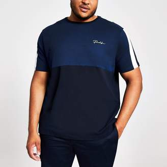 River Island Mens Big and Tall Navy blocked 'Prolific' T-shirt