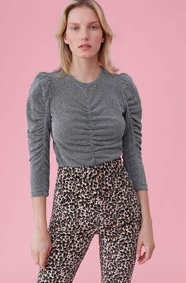 Rebecca Taylor Lurex Jersey Ruched Top
