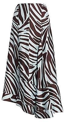 3.1 Phillip Lim Women's Asymmetric Snap-Button Zebra Midi Skirt - Size 0