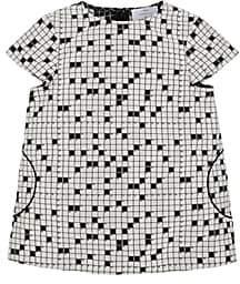 Lisa Perry Kids' Crossword-Pattern Tech-Satin Cap-Sleeve Dress