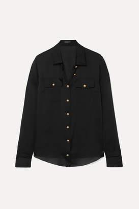 Balmain Silk-satin Shirt - Black