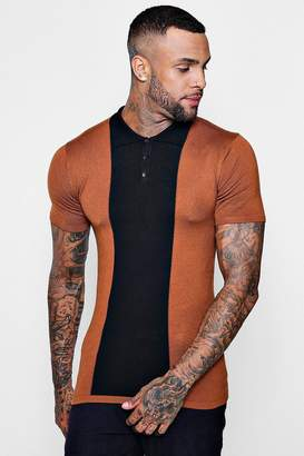 boohoo Muscle Fit Colour Block Polo