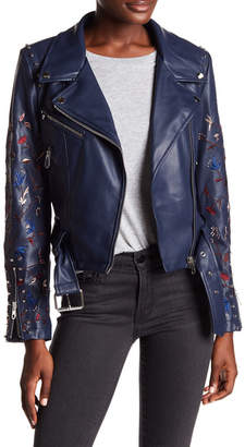 Vigoss Embroidered Faux Leather Moto Jacket