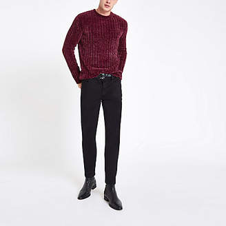 River Island Dark red muscle chenille knit sweater