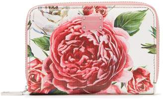 Dolce & Gabbana Rose and peony-print leather wallet