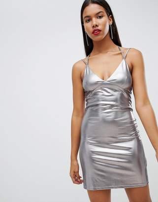 Rare Strappy Liquid Metallic Mini Dress