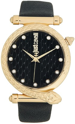 Just Cavalli Stainless Steel, Crystal & Leather-Band Snake-Bezel Watch