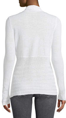 Neiman Marcus Mixed-Ribbed Open-Front Cardigan