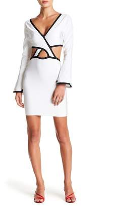 Wow Couture Bell Sleeve Cutout Piped Dress