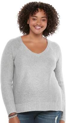 So Juniors' Plus Size SO Raglan V-Neck Sweater