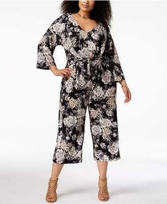 NY Collection Plus Size Printed Cropped-Leg Jumpsuit