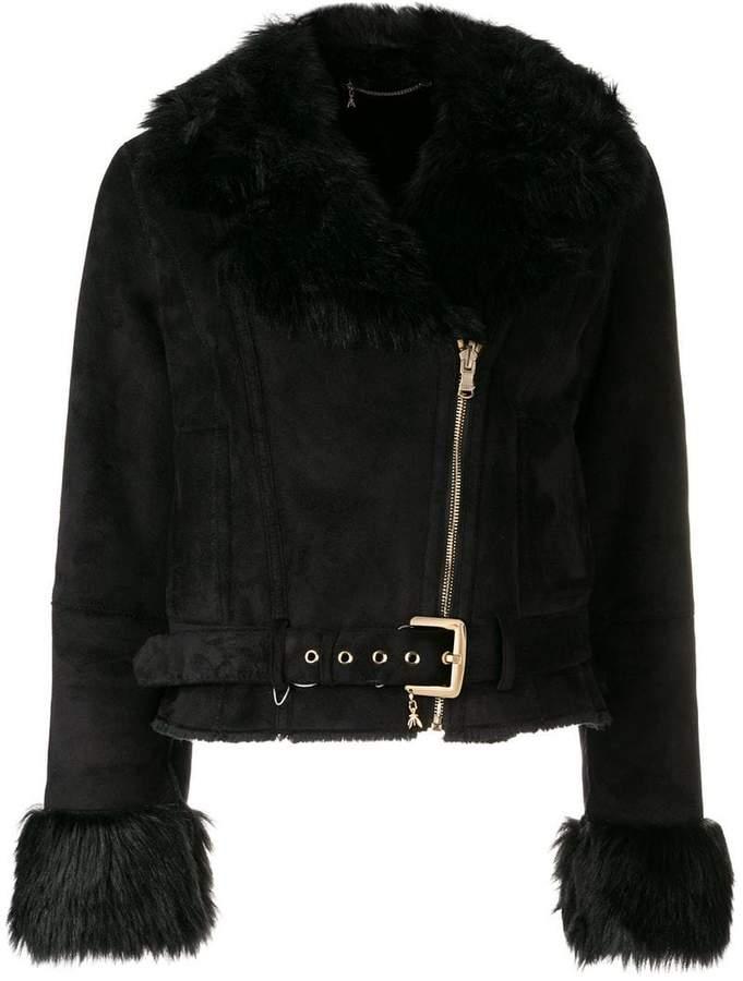 faux fur trim biker jacket