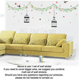 H&M Wall Decal Bird Cages and Birds with Vine Wall Decal Set