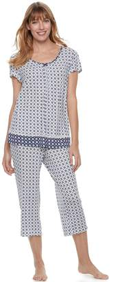 Croft & Barrow Women's Pajamas: V-Neck Tee & Capris 2-Piece PJ Set