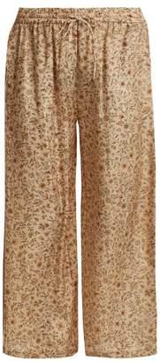 Mes Demoiselles Floral Print Silk Trousers - Womens - Beige Multi